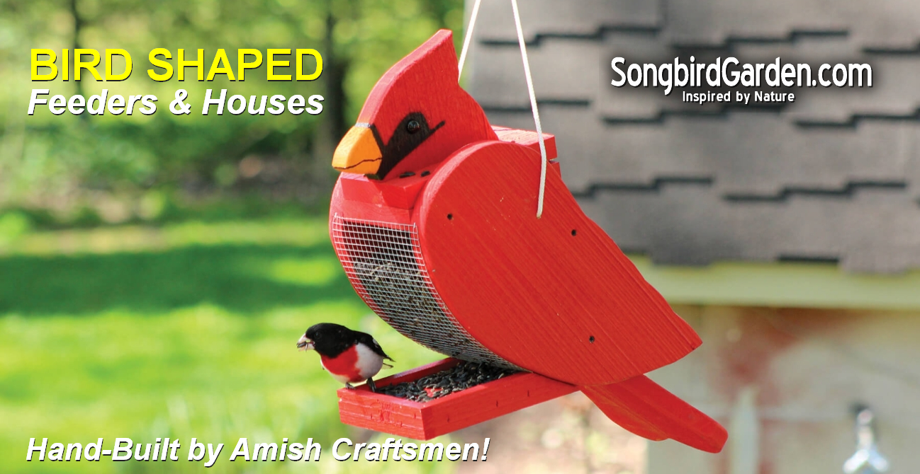 Amish Handcrafted Wooden Bird Shaped Feeders and Birdhouses