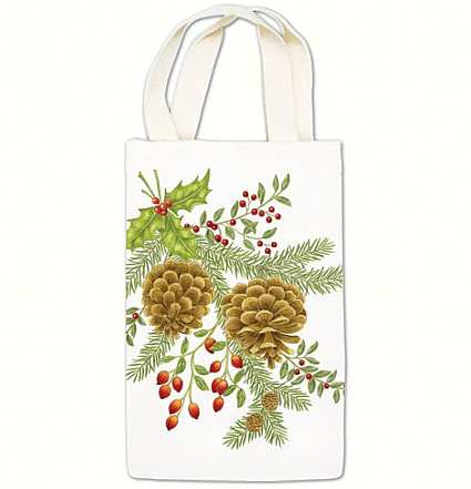 Holiday Pinecones Wine Caddy Quality Handcrafted Nature