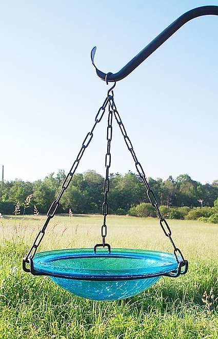 Hanging Crackle Glass Bird Bath 12 Inch Teal Quality