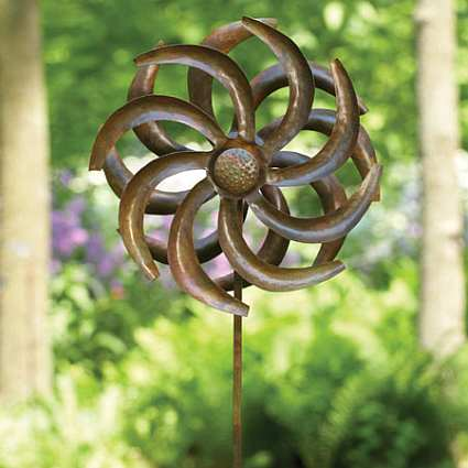 Camelia Wind Spinner Flamed Copper With Stake Whirligigs