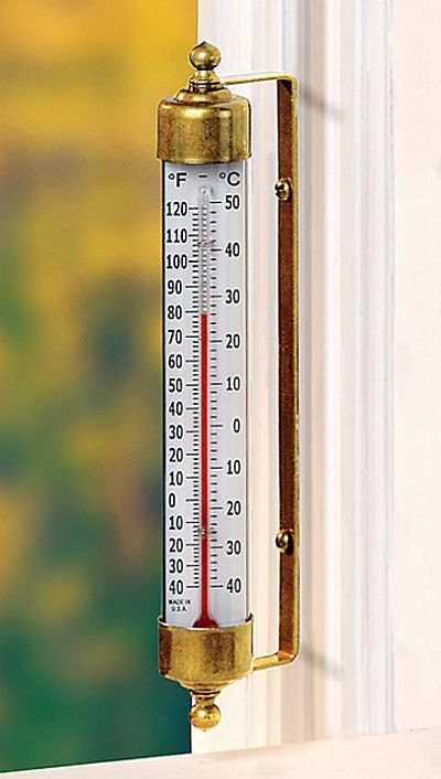The Original Vermont Indoor Outdoor Thermometer Brass