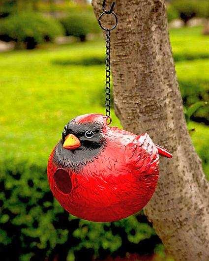 Curt the cardinal portly birdhouse portly bird houses adorable