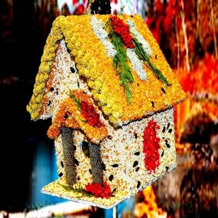 Gingerbread house edible birdhouse handcrafted edible bird seed house