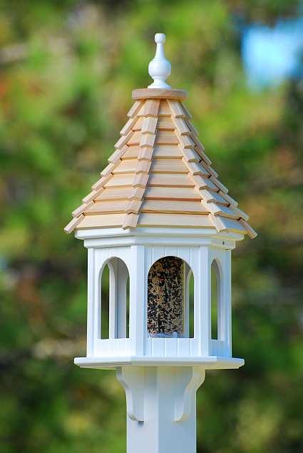 Fancy Home Cypress Shingle Roof 12 Inch Gazebo Bird Feeder