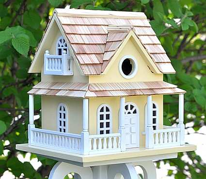 Home bazaar classic cape may cottage bird house yellow for Classic bird houses