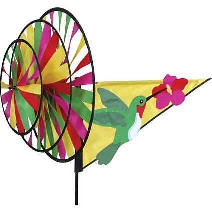 Premier designs ruby hummingbird w flower triple spinner for Wind garden by premier designs