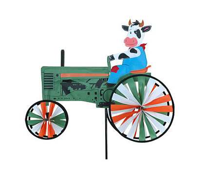 Premier designs cow tractor wind spinner 22 inch quality for Garden spinners premier designs