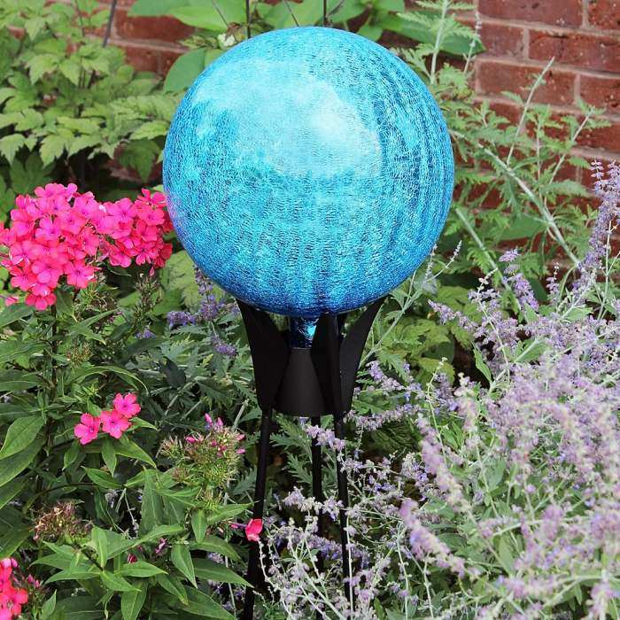 Achla Garden Gazing Globe Teal Crackle