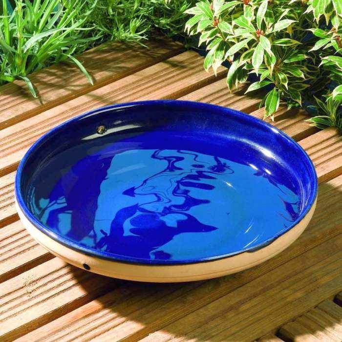 Hang or Set on Ground Rilney 10 Inch Glazed Sapphire Blue Ceramic Hanging Bird Bath w//Metal Chain