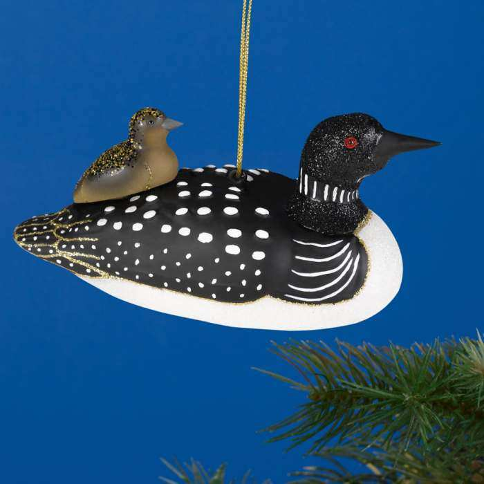 Blown Glass Bird Ornament Loon with Baby