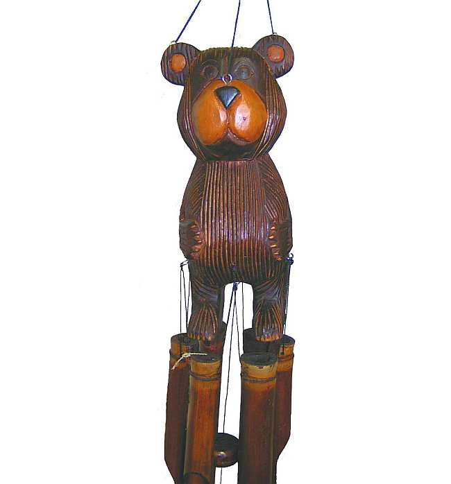 Barry Bear Bamboo Wind Chime, Hand Carved Bamboo Windchimes