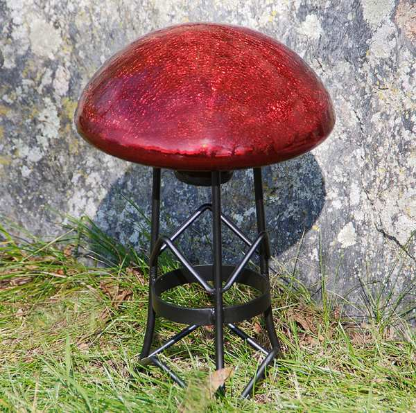 Achla Crackle Glass Toadstool Red
