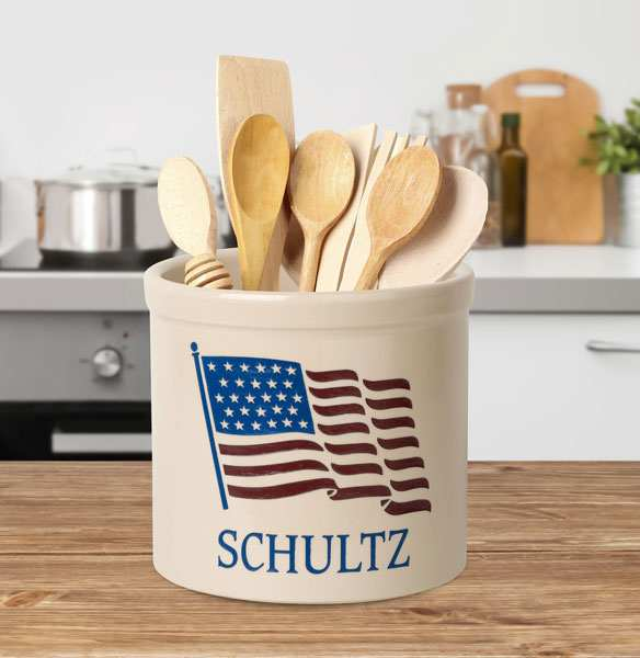 American Heritage Personalized Stoneware Crock