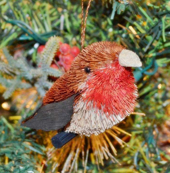 Brushart Bristle Brush Bird Ornament Robin