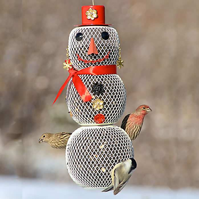 No/No Mrs. Snowman Wire Mesh Bird Feeder