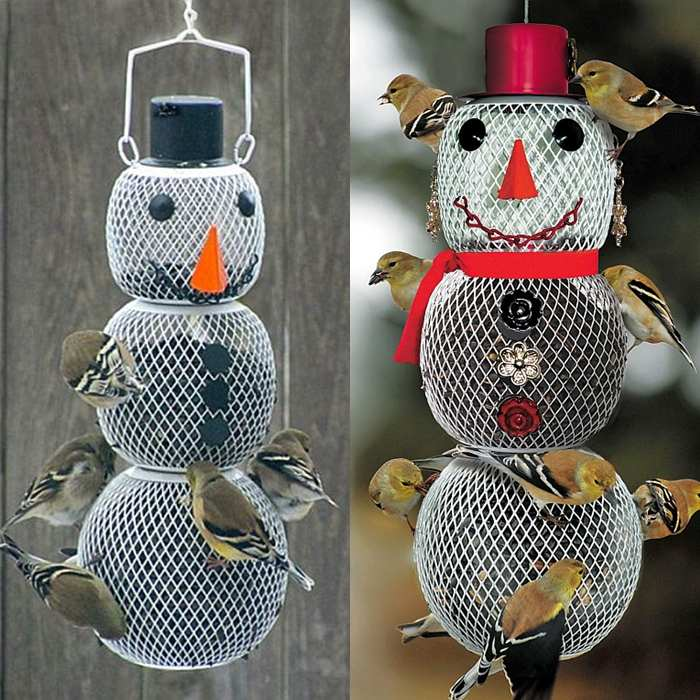 No/No Mr. and Mrs. Snowman Bird Feeder Pair