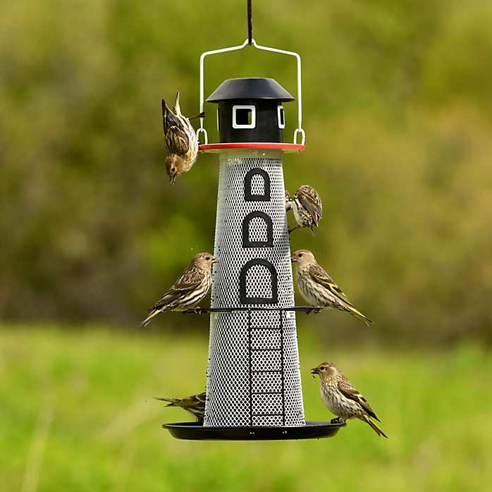 No/No Solar Lighthouse Finch Bird Feeder