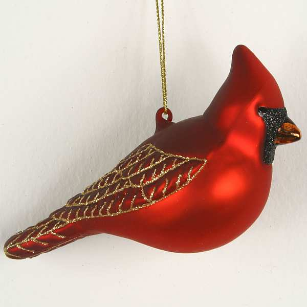 Blown Glass Bird Ornament Cardinal Male