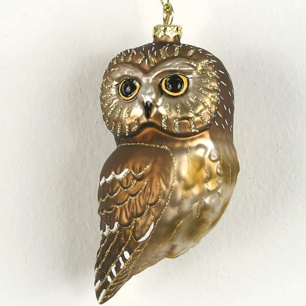 Blown Glass Bird Ornament Northern Saw Whet Owl