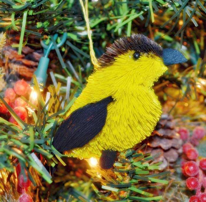 Brushart Bristle Brush Bird Ornament Goldfinch