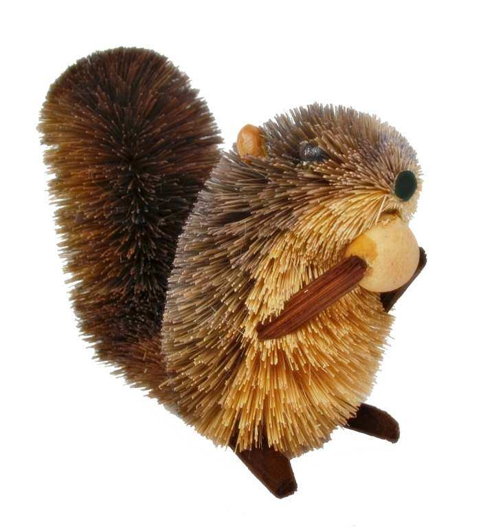 Brushart Bristle Brush Animal Squirrel with Nut