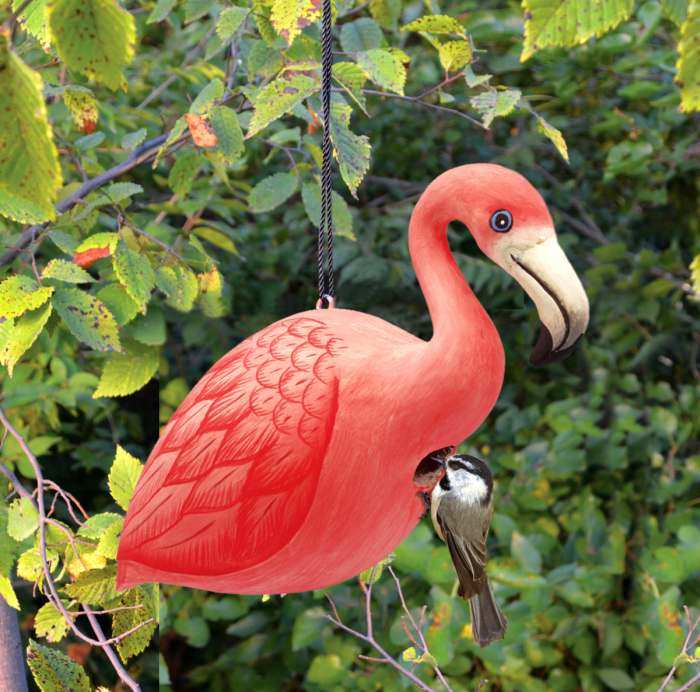 For The Birds Flamingo Bird House