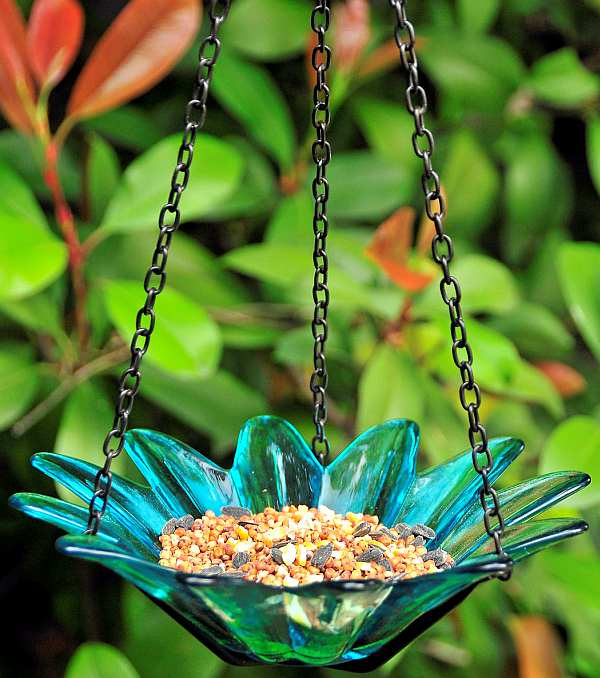 Hanging Glass Aqua Daisy Bird Feeder 8