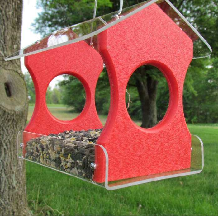 Songbird Recycled Poly Hanging Bird Feeder Red