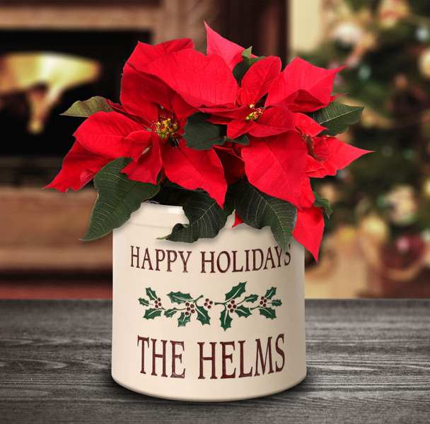 Holiday Holly Personalized Stoneware Crock