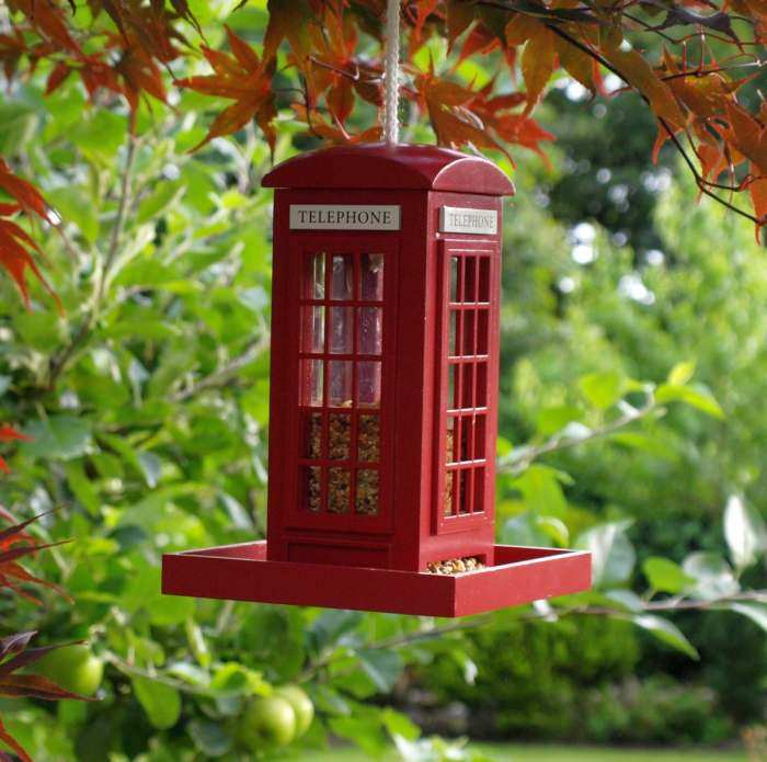 British Inspired Telephone Booth Bird Feeder