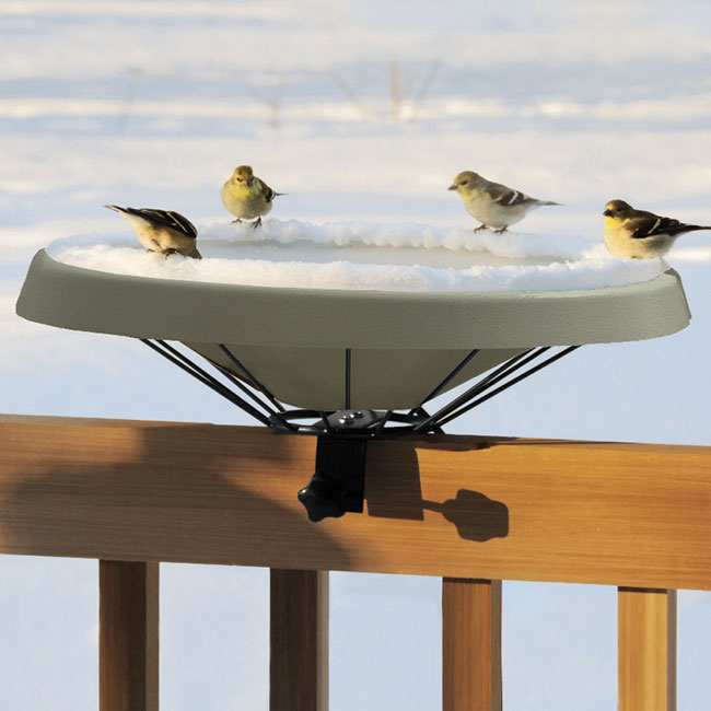 Songbird Heated Deck Mounted Bird Bath Green