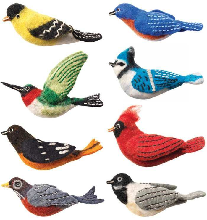 Wild Woolies Bird Ornament Collection I Set of 8