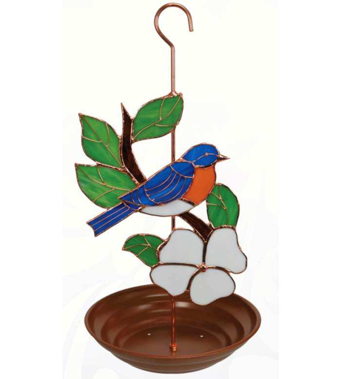 Stained Glass Bird Feeder Bluebird