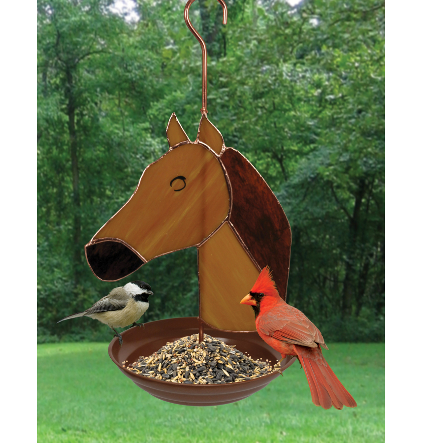 Stained Glass Bird Feeder Horse