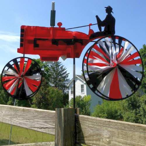 Red Farm Tractor Wind Spinner
