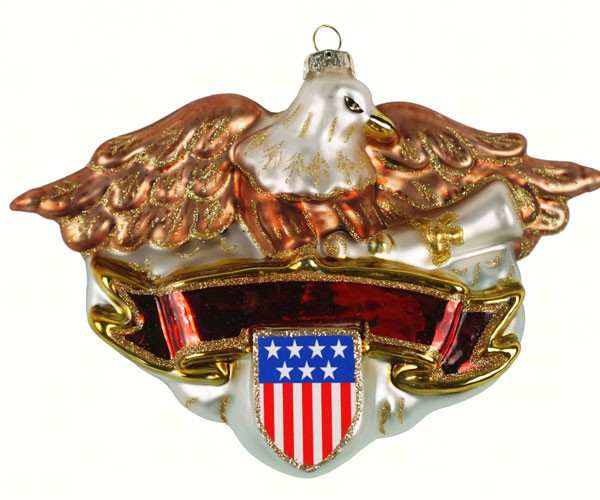 Blown Glass Ornament Patriotic Eagle