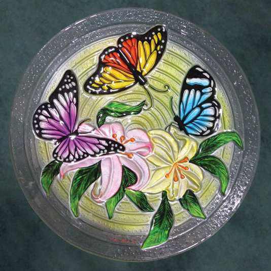 Embossed Butterfly Trio Glass Bird Bath Bowl