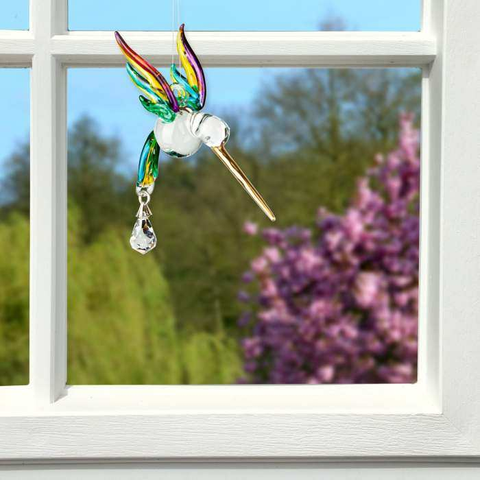 Fantasy Glass Suncatcher Hummingbird Peacock