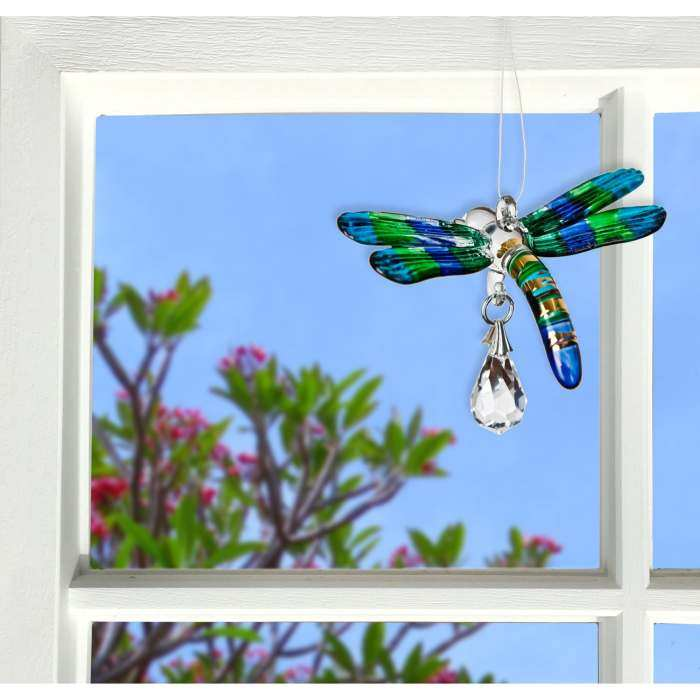 Fantasy Glass Suncatcher Dragonfly Peacock