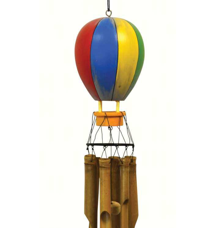Hot Air Balloon Bamboo Windchime Handcrafted Wind Chimes Whimsical Windchimes At Songbird Garden