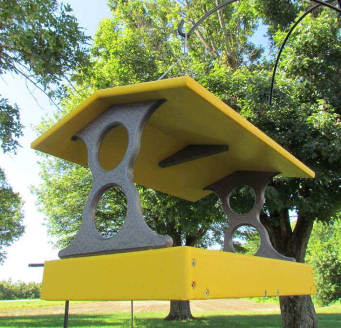 Recycled Poly Fly-Thru Feeder Large Yellow/Gray