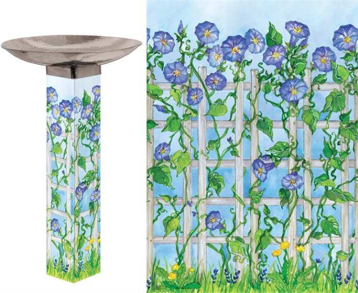 Art Pole Bird Bath 5x5 Bluebonnet Trellis