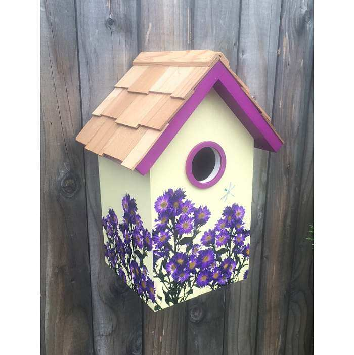 Botanical Floral Print Birdhouse Asters