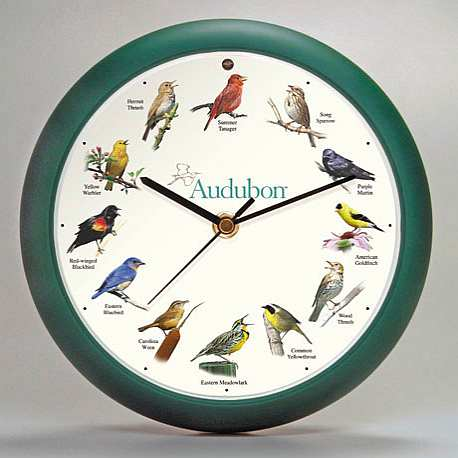 Audubon Singing Bird Wall Clock 13 Inch