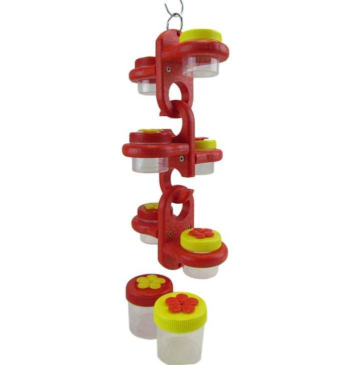 Triple Link Dots Hummingbird Feeder Red/Yellow
