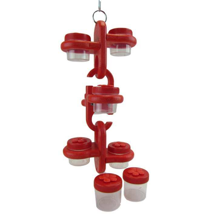 Triple Link Dots Hummingbird Feeder Red/Red