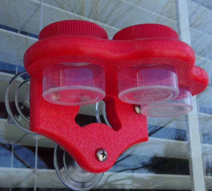 Triple Window Dots Hummingbird Feeder Red/Red