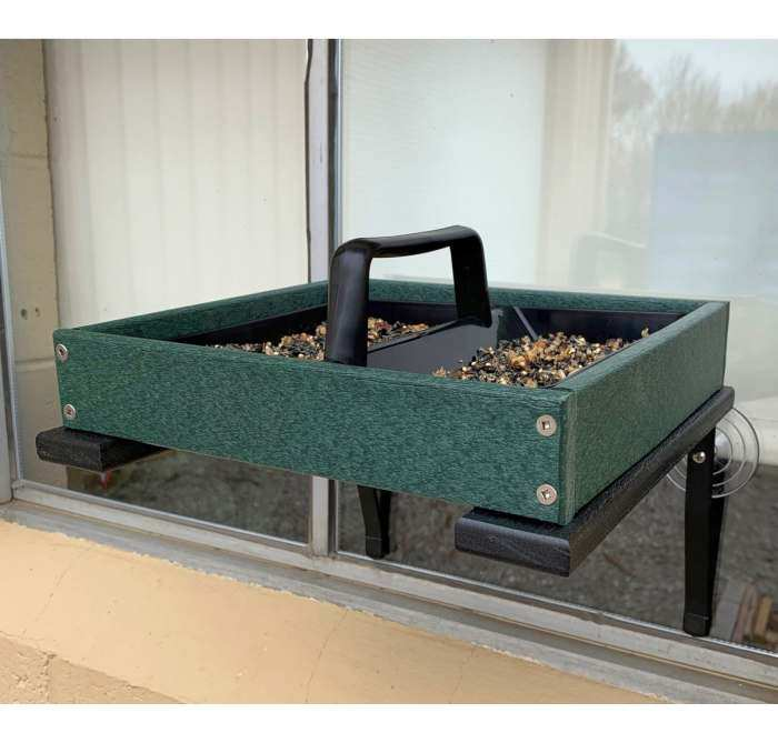 Recycled Poly Window Mount Platform Feeder Green