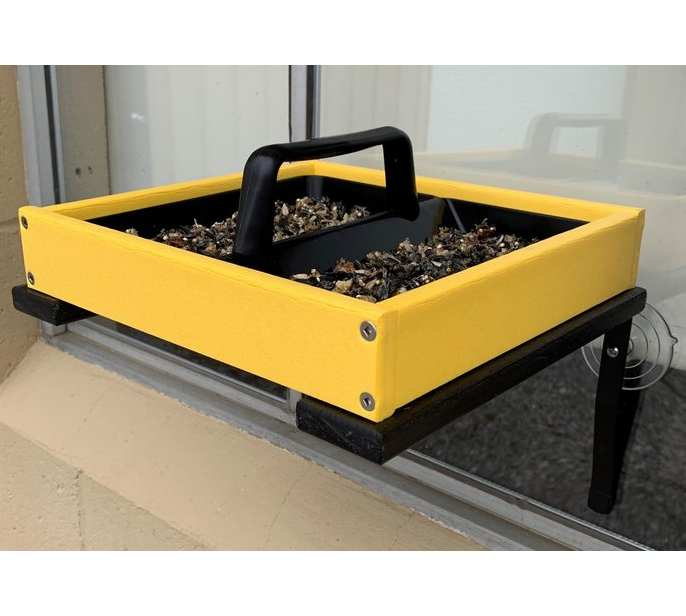 Recycled Poly Window Mount Platform Feeder Yellow