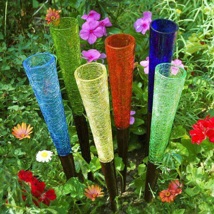 Crackle Glass Sparkle Cones Set of 6